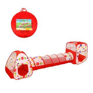 Палатка игровая Горошек с туннелем, 355*90*90см, сумка на молнии