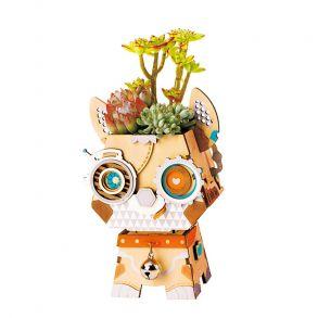 Деревянный конструктор «Цветочный горшок Щенок»