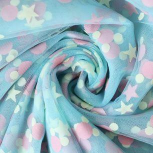 Мягкий фатин (еврофатин) - Звезды и горошки на голубом 160х25