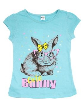 """Футболка для девочки 4-8 года Dias kids """"Bunny cute"""" бирюзовая"""