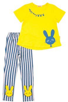 """Костюм для девочек 3-7 лет BONITO kids """"Happy bunny"""" желтый"""