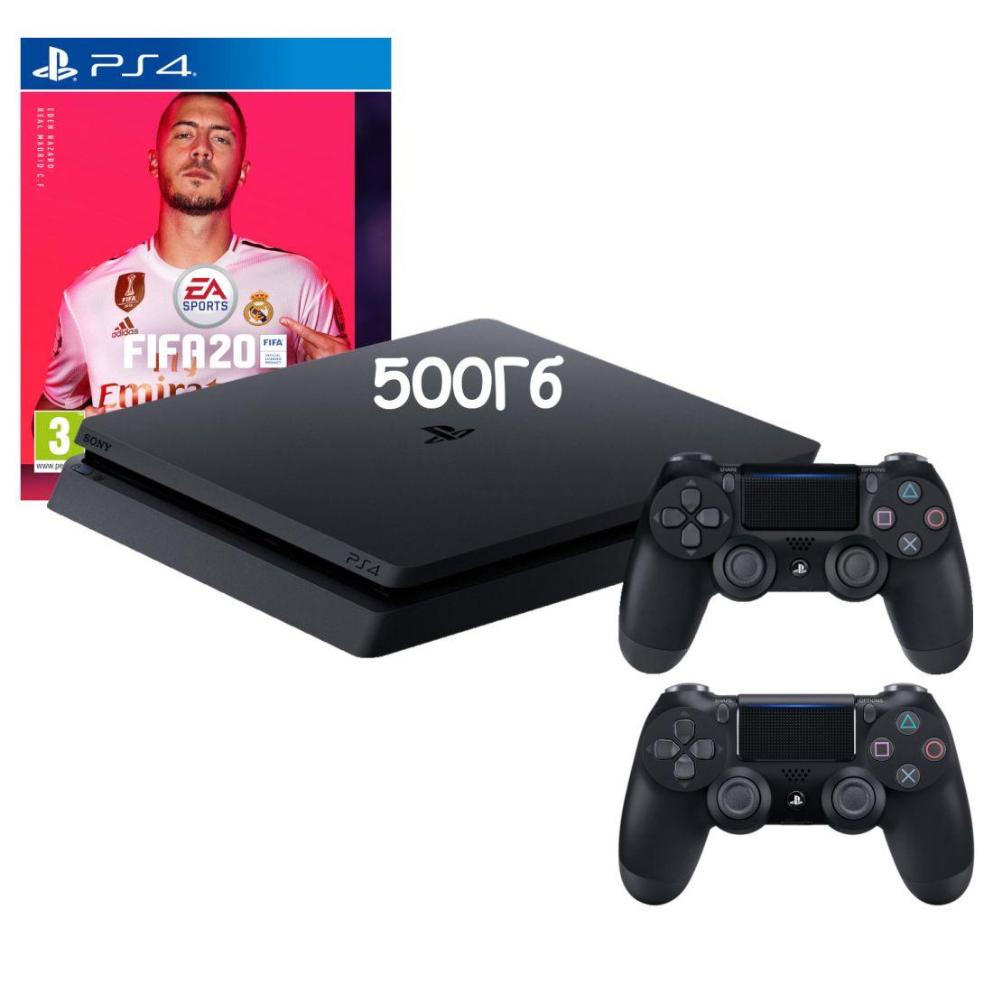Sony PlayStation 4 Slim 500 ГБ + Доп. джойстик + Игра FIFA 20