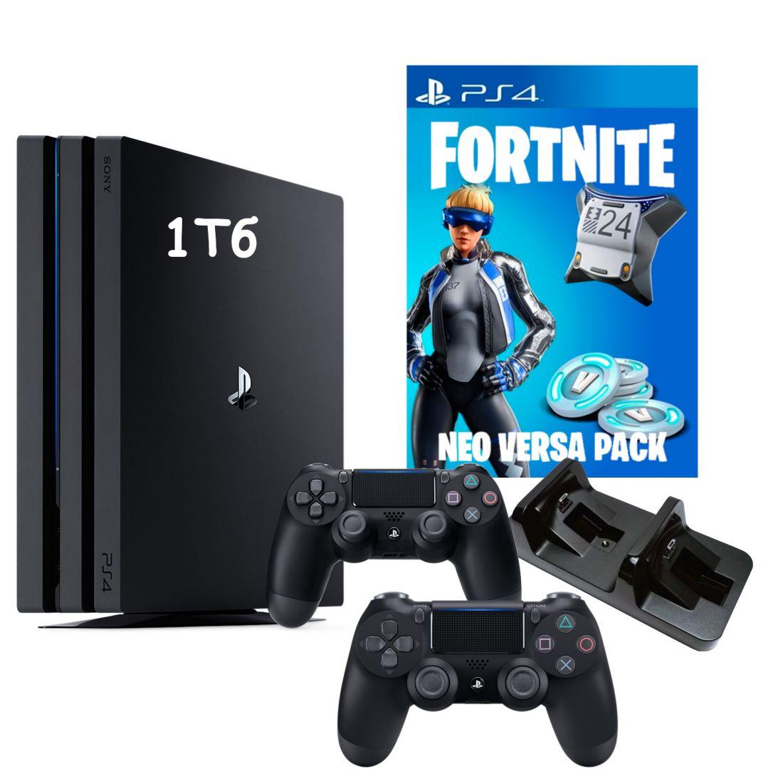 Sony PlayStation 4 Pro 1Tb + Доп. джойстик + Зарядка для 2х джойстиков + Вертикальный стенд + Игра Fortnite