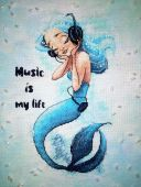 "Digital cross stitch pattern ""Music Is My Life""."