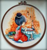 """I am embroidering"". Digital cross stitch pattern."