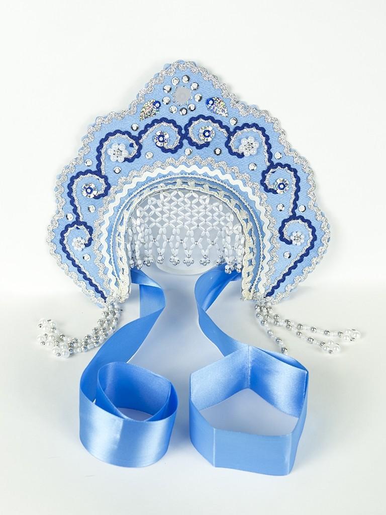 Голубой детский кокошник Фантазия
