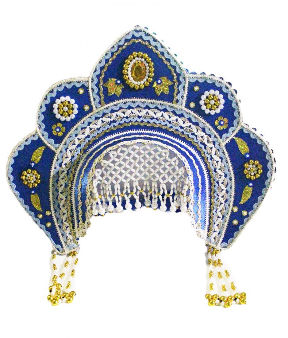 Кокошник Фантазия сине-золотой