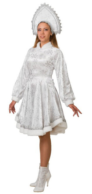 Взрослый белый костюм Снегурочки Амалии