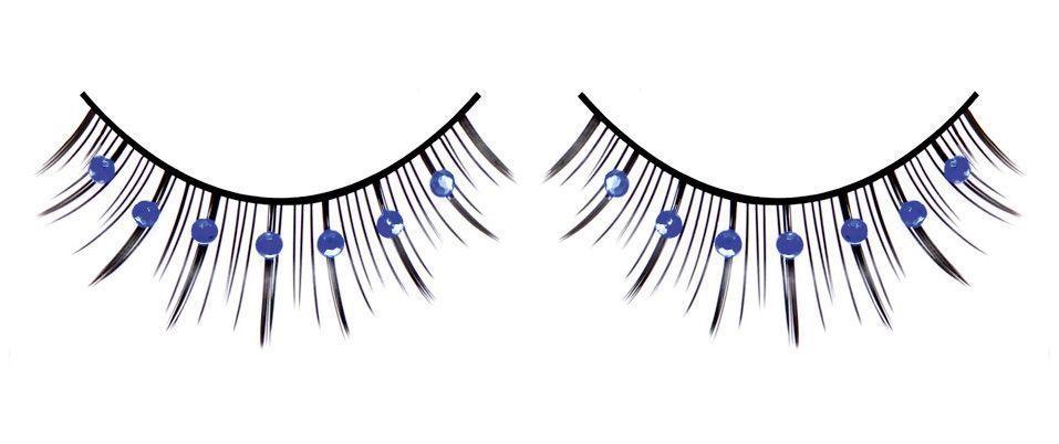 Ресницы с синими стразами