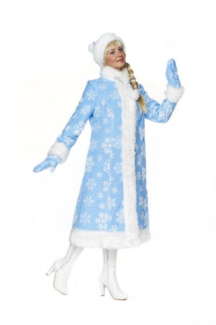 Взрослый голубой костюм Снегурочки