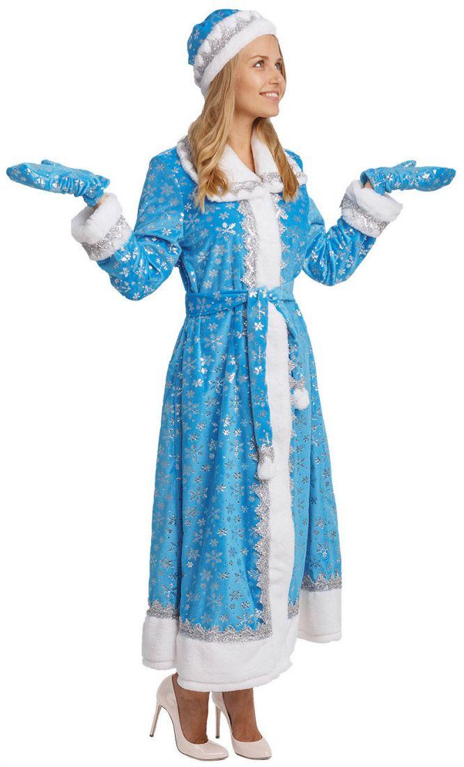 Взрослый костюм Снегурочки в голубом