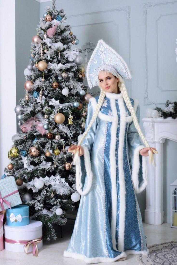 Взрослый костюм Снегурочки с кокошником