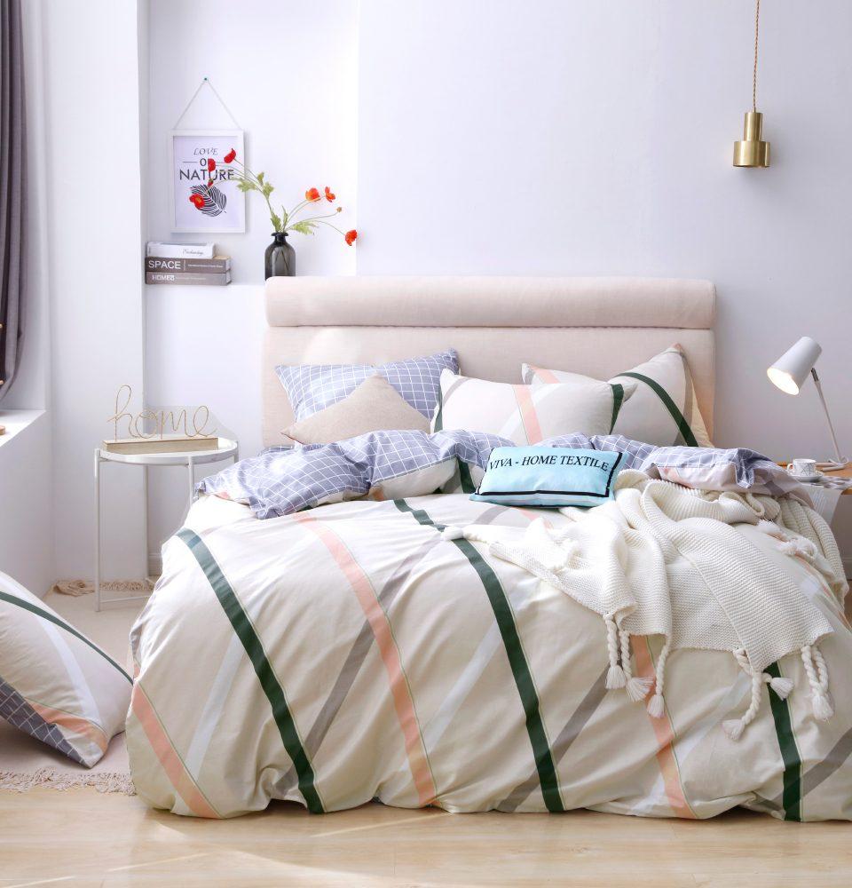 Комплект Евро  постельного белья Люкс-Сатин A095