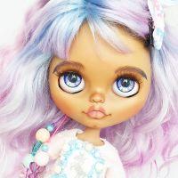 Кукла блайз кастом единорог купить blythe custom doll by @milena.blythe  цветные синие розовые голубые фиолетовые радужные волосы