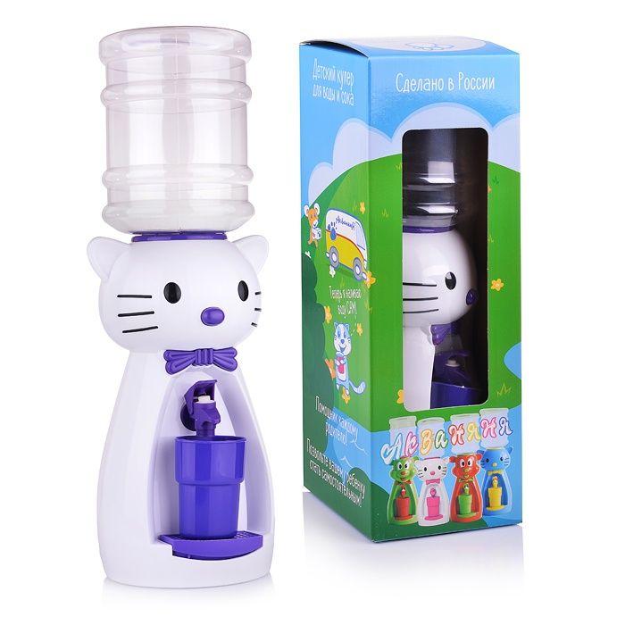 Кулер детский для воды Акваняня Кошка белая с фиолетовым