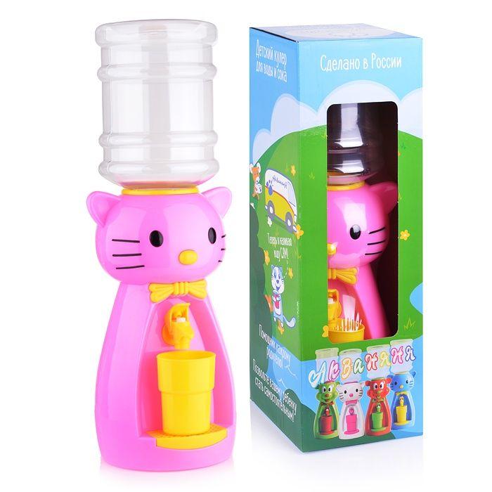 Кулер детский для воды Акваняня Кошка розовая с желтым