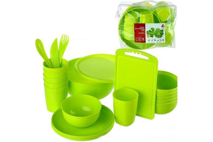 Набор посуды для пикника Plastic Centre Пир на 6 персон 38 предметов