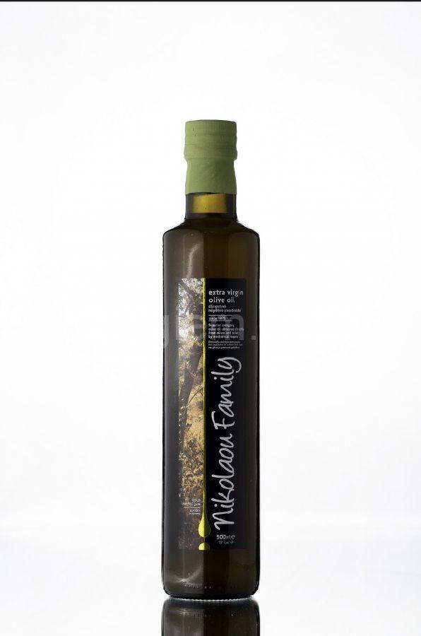 """Оливковое масло из недозревших зелёных оливок Extra Virgin """"Nikolaou Family"""" стекло 500 мл"""