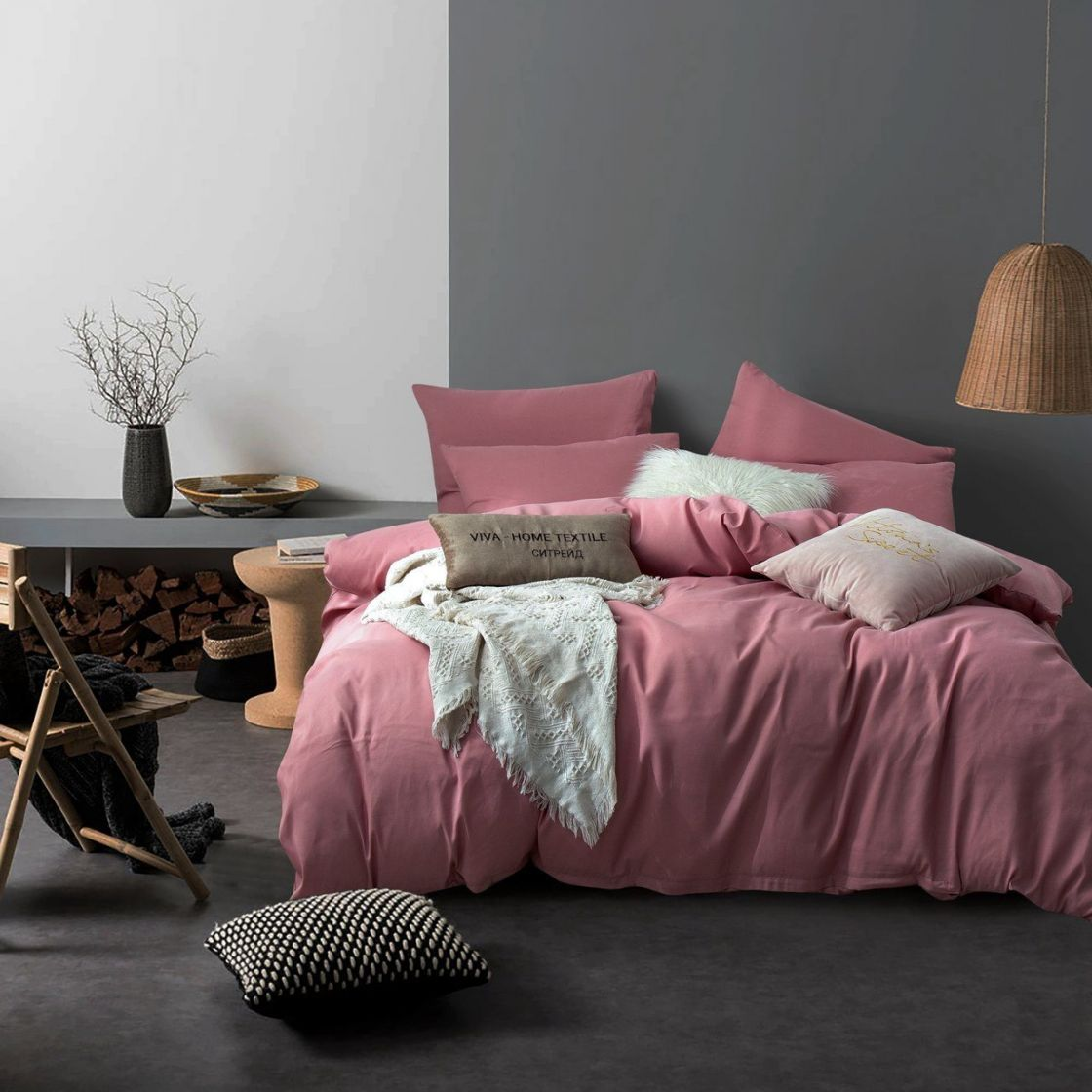 Комплект Дуэт Семейный постельного белья однотонный Сатин CS026