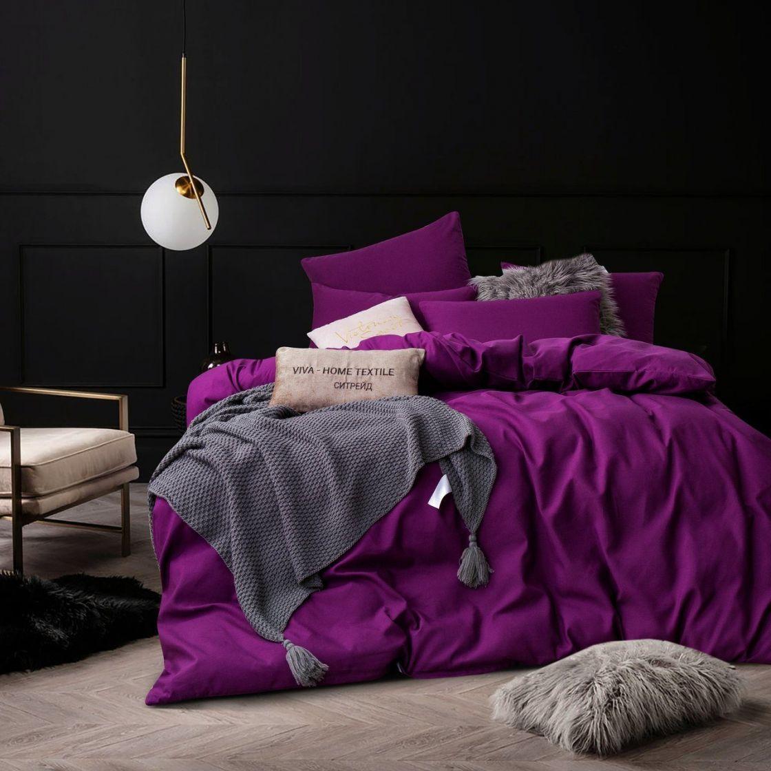 Комплект Дуэт Семейный постельного белья однотонный Сатин CS027