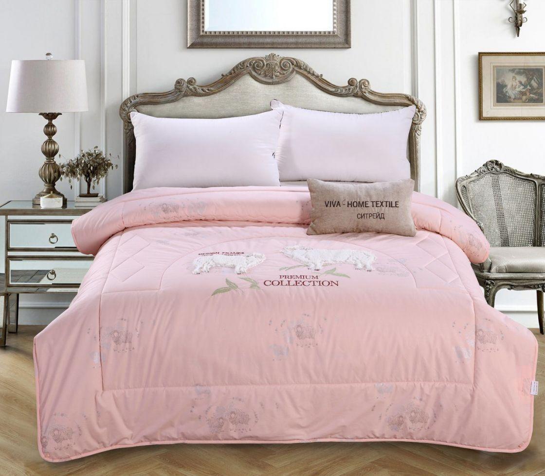Одеяло 2 спальный Овечий пух с вышивкой Premium