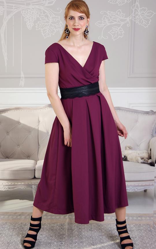 Длинное платье марсала