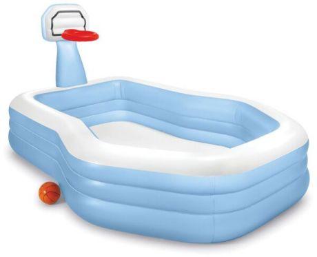 Детский надувной бассейн Intex 57183 (257 х 188 х 130 см), с баскетбольным кольцом