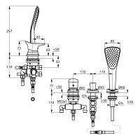 Kludi Ambienta смеситель для ванны и душа 534480575 схема 2