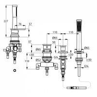 Kludi E2 смеситель для ванны и душа 494260575 схема 2