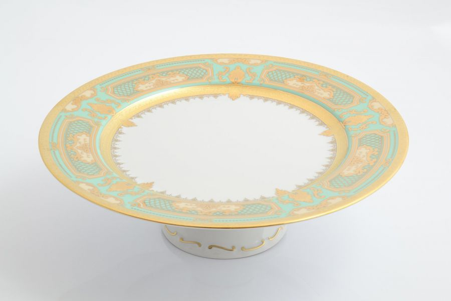 Тарелка для торта 32 см на ножкет Donna Seladon gold