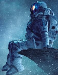 Алмазная мозаика «Задумчивый космонавт» 40x50 см