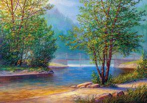Алмазная мозаика «Утро на берегу реки» 50x65 см