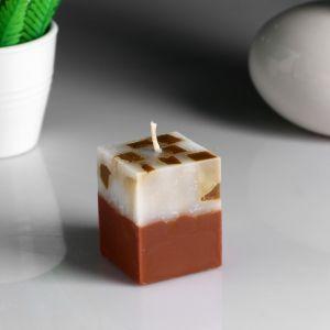 """Свеча- куб с мозаикой """"Корица"""" ароматическая, 5?6 см 4852552"""
