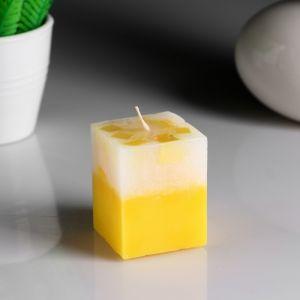 """Свеча- куб с мозаикой """"Лимон"""" ароматическая, 5?6 см 4852555"""