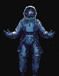 Алмазная мозаика «Космонавт с бабочками» 40x50 см