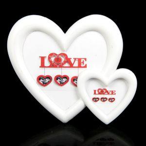 рамка д/фото пластик 2 сердца белая 10*12, 6*8 см 719867