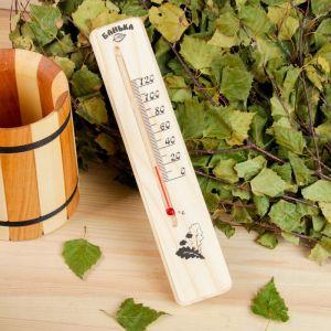 Деревянный термометр для бани Классика, спиртовой, малый, 683801
