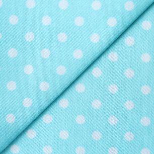 Ткань хлопок джинсовый Горошек на голубом 50х37