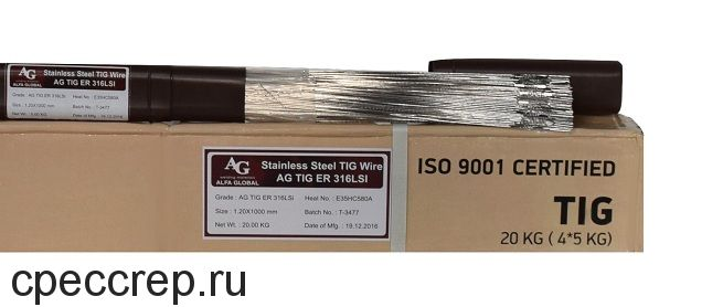 Присадочный пруток AG TIG ER 316LSi d=1,6*1000 туба-5кг