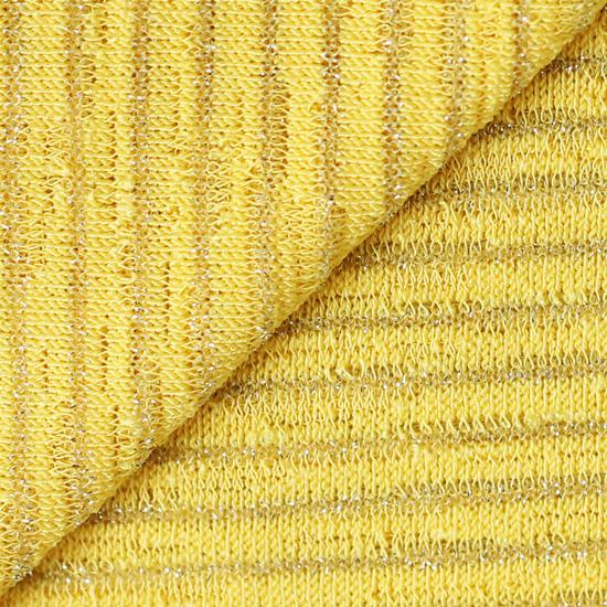 Лоскут трикотажной ткани (лапша) жёлтый с люрексом 50х30