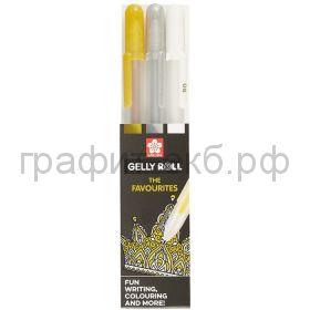 Ручка гелевая Sakura 3 цвета золотая/серебряная/белая POXPGBMIX3A