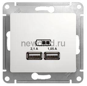 GLOSSA USB РОЗЕТКА, 5В/2100мА, 2х5В/1050мА, механизм, БЕЛЫЙ