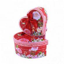 """Набор коробок 3 в 1 """"Винтажные цветы"""" Красный с бантом"""