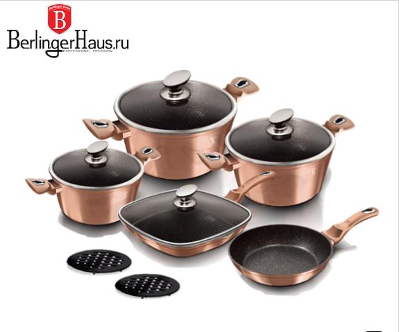Набор посуды 12 пр. BERLINGER HAUS BH 6191 Rosegold Line