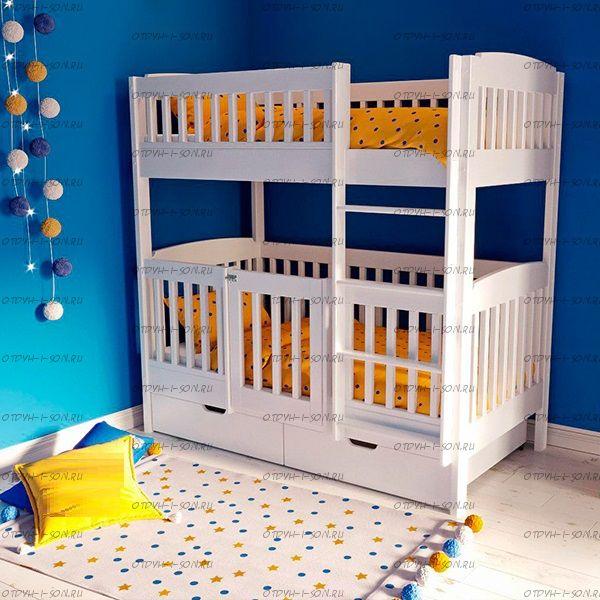 Кровать двухъярусная Малинка №7А с калиткой