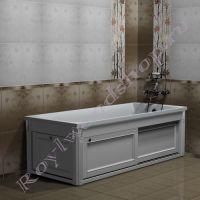 """Экран под ванну """"Руссильон PROVENCE раздвижной, белый""""с торцевой дверкой"""