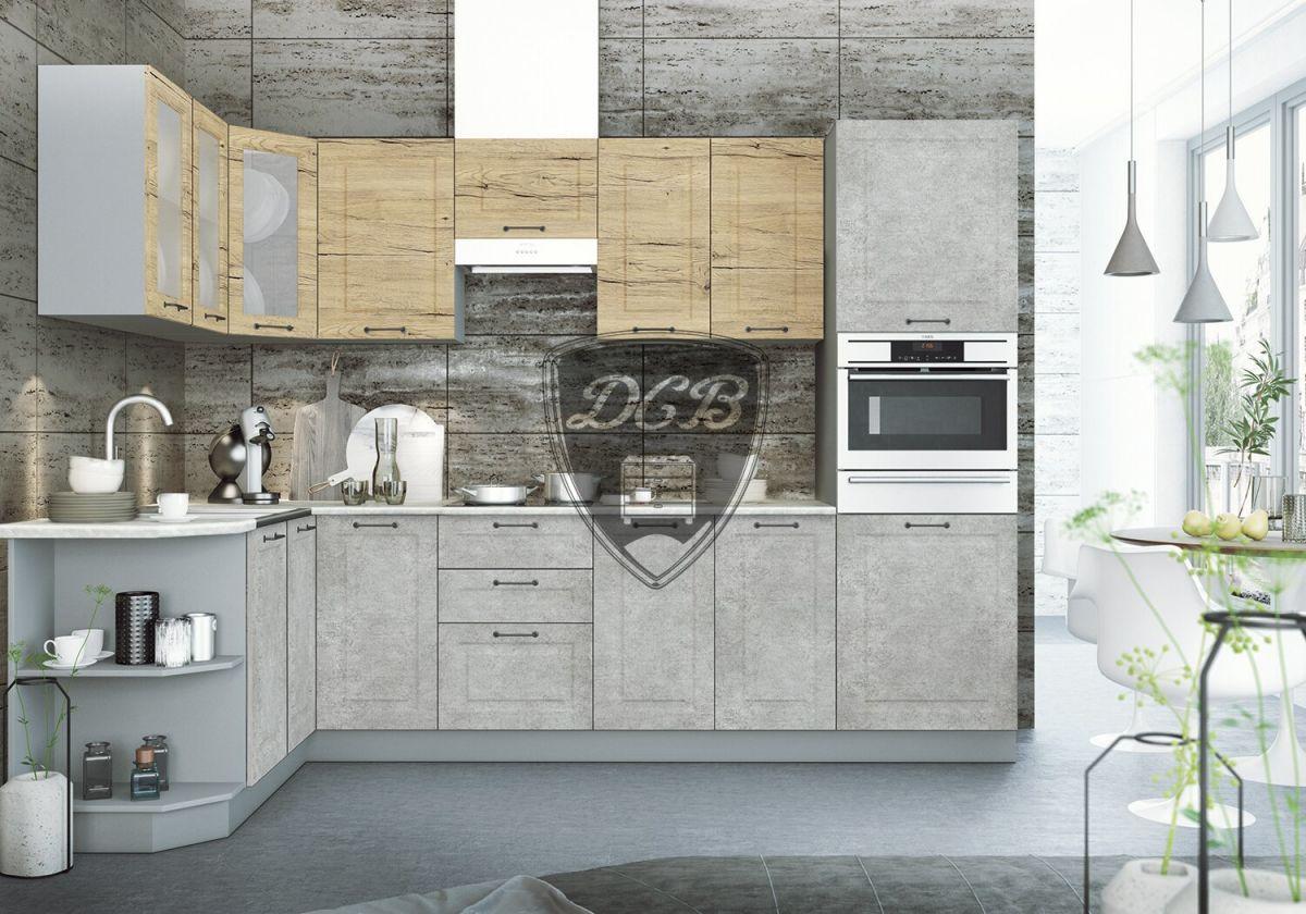 Кухонный гарнитур Капри 1,7х2,95 Дуб майский / Камень светлый