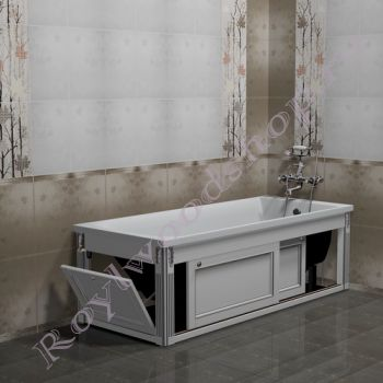 """Экран для ванны """"Руссильон PROVENCE раздвижной, белый с серебром"""""""