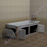 """Экран для ванны """"Руссильон PROVENCE складной, белое золото"""" в открытом виде"""