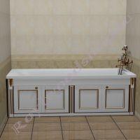 """Экран для ванны  150см /170 см """"Руссильон PROVENCE складной, белое золото"""" прямой"""
